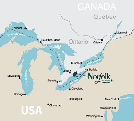 Map showing Norfolk County location